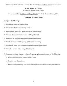 the house on mango street book review th th grade worksheet the house on mango street book review worksheet