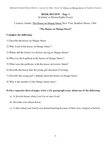 the house on mango street book review th th grade worksheet  the house on mango street book review 6th 8th grade worksheet lesson planet