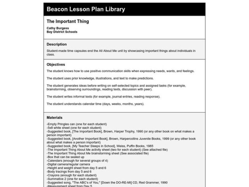 The Important Thing Lesson Plan