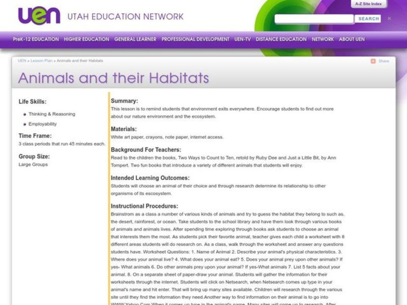 Animals and their Habitats Lesson Plan