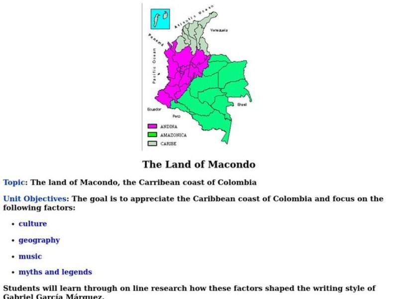 The Land of Macondo Lesson Plan