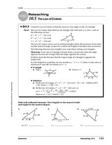 The Law of Cosines Worksheet