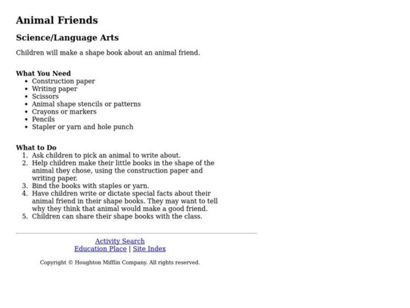 Animal Friends Lesson Plan