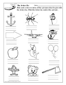 The Letter Aa Worksheet