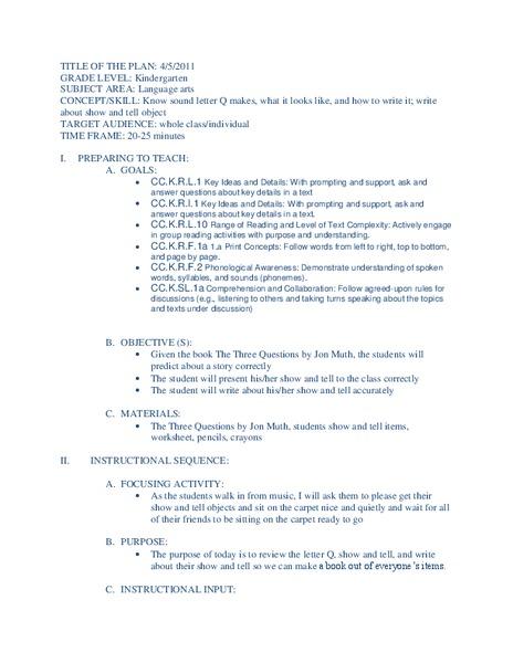 The Letter Q Kindergarten Lesson Plan