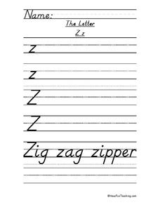 The Letter Z Worksheet