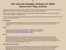 The Lincoln-Douglas Debates of 1858: Interactive Map Activity Lesson Plan