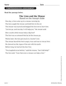 photograph about The Lion and the Mouse Story Printable identified as Lion and the Mouse Lesson Designs Worksheets Discussed by means of