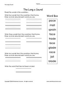 The Long a Sound Worksheet