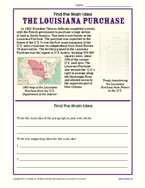 The Louisiana Purchase Worksheet for 4th   5th Grade ...