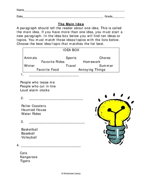 The Main Idea Worksheet For 5th 6th Grade Lesson Planet