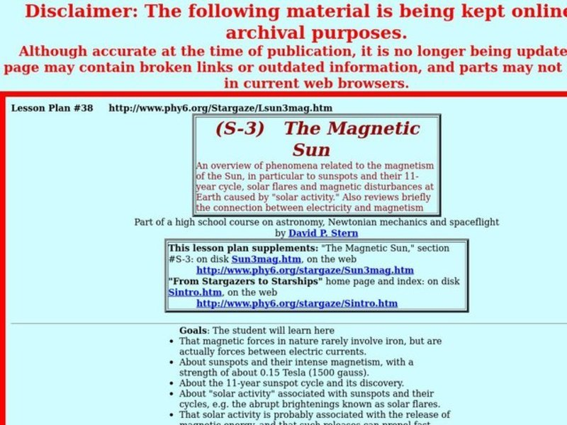 The Magnetic Sun Lesson Plan