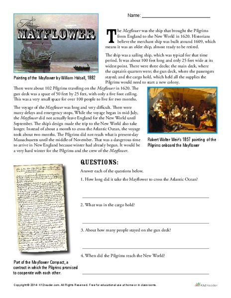 The Mayflower Worksheet for 4th - 6th Grade | Lesson Planet