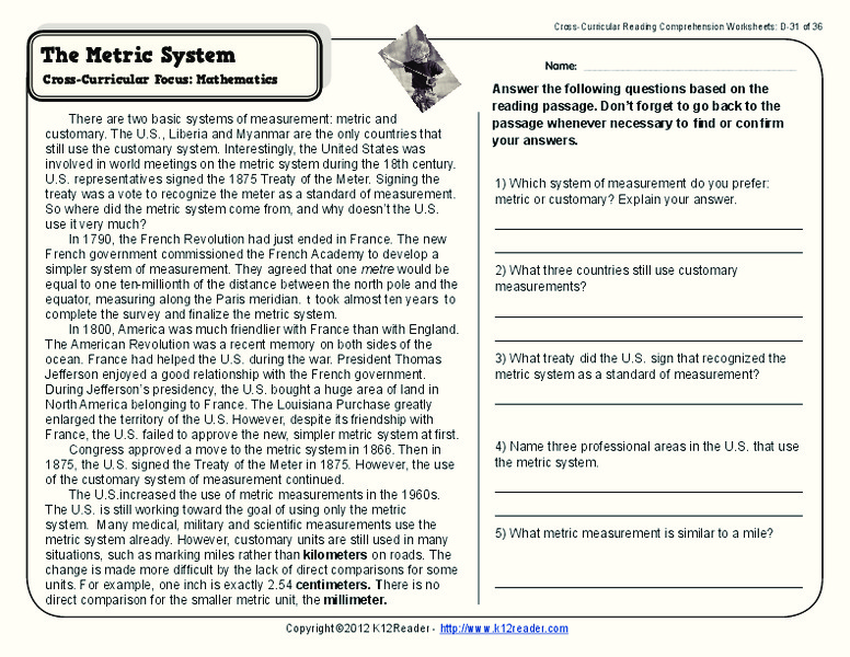 The Metric System Worksheet