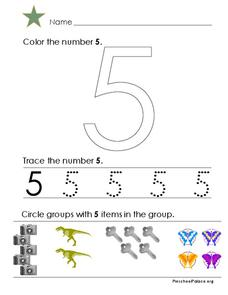 The Number 5 Worksheet