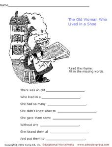 The Old Woman Who Lived In a Shoe Worksheet