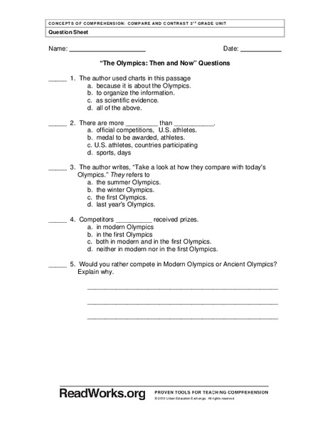 The Olympics: Then and Now Worksheet