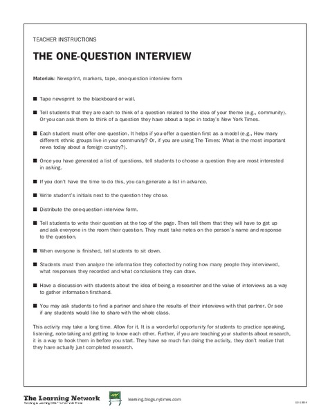 The One-Question Interview Lesson Plan