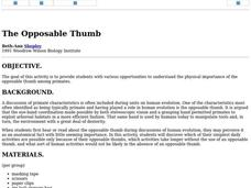 The Opposable Thumb Lesson Plan