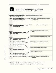 the origins of judaism worksheet for 9th 10th grade lesson planet. Black Bedroom Furniture Sets. Home Design Ideas