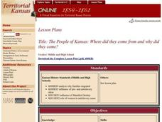 The People of Kansas: Where did they come from and why did they come? Lesson Plan