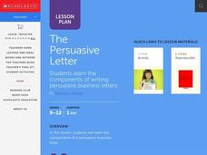 The Persuasive Letter Lesson Plan