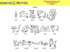 Animal Anagrams Worksheet