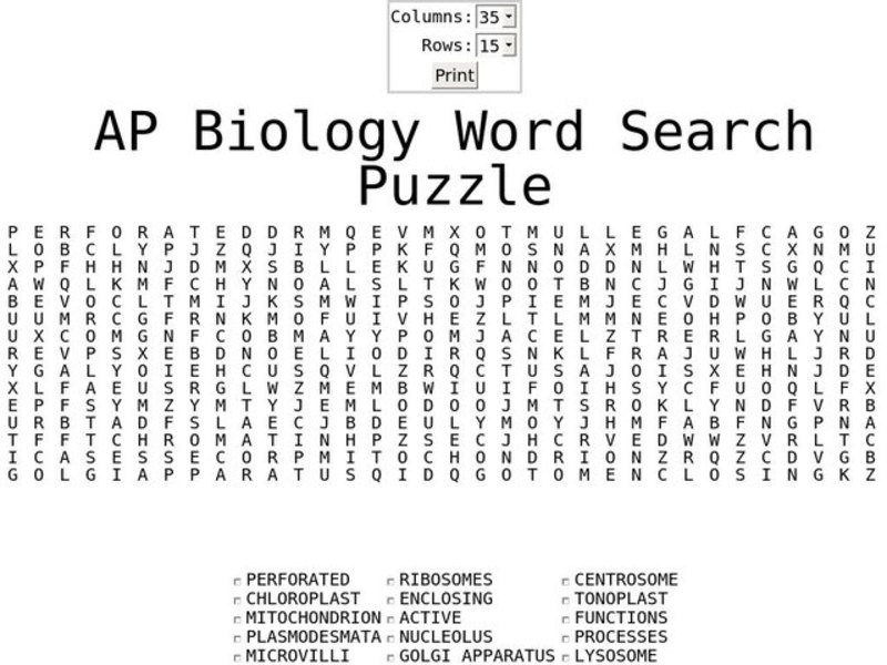 AP Biology Word Search Worksheet