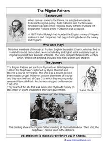 The Pilgrim Fathers Worksheet