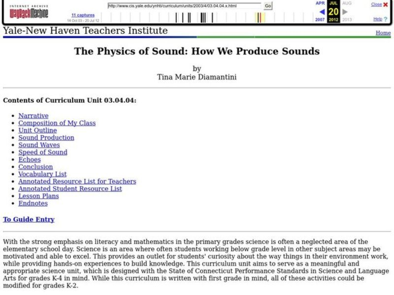 The Physics of Sound: How We Produce Sounds Lesson Plan for