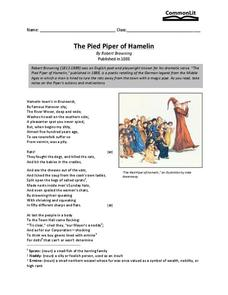 The Pied Piper of Hamelin Worksheet