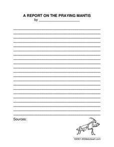 The Praying Mantis Worksheet