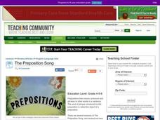 The Preposition Song Lesson Plan