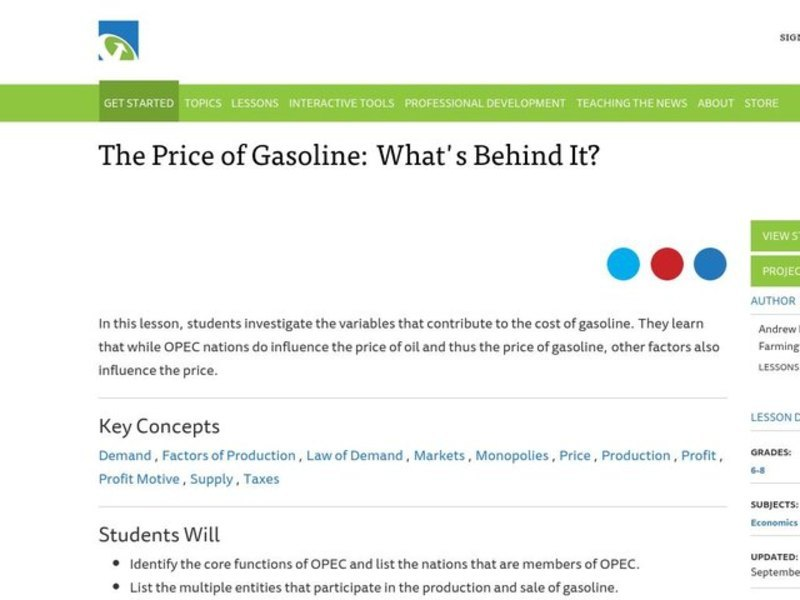 The Price of Gasoline: What's Behind It? Lesson Plan