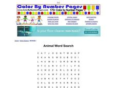 Animal Word Search Worksheet