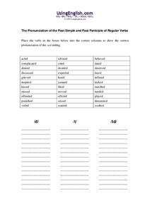 The Pronunciation of the Past Simple and Past Participle of Regular Verbs Worksheet