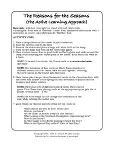 The Reasons for the Seasons 7th - 10th Grade Worksheet   Lesson Planet