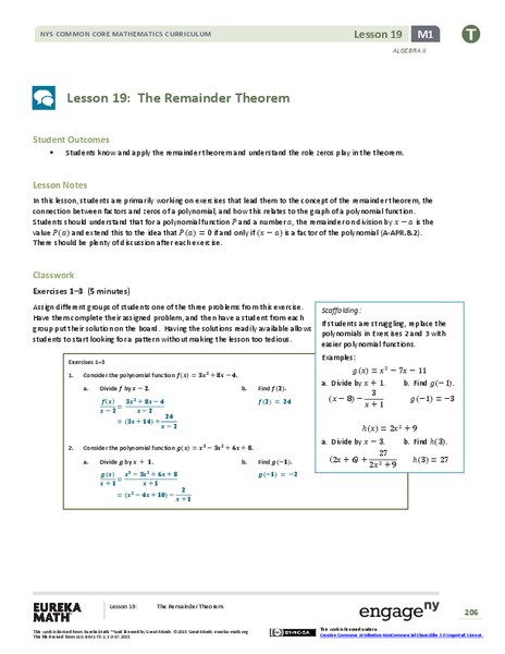 The Remainder Theorem Lesson Plan