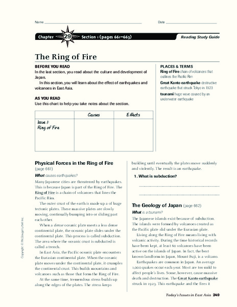 The Ring of Fire Graphic Organizer