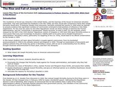 The Rise and Fall of Joseph McCarthy Lesson Plan