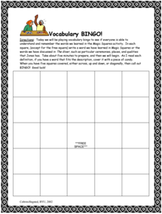 The Giver: Vocabulary Bingo! Lesson Plan