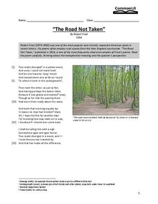 The Road Not Taken Worksheet