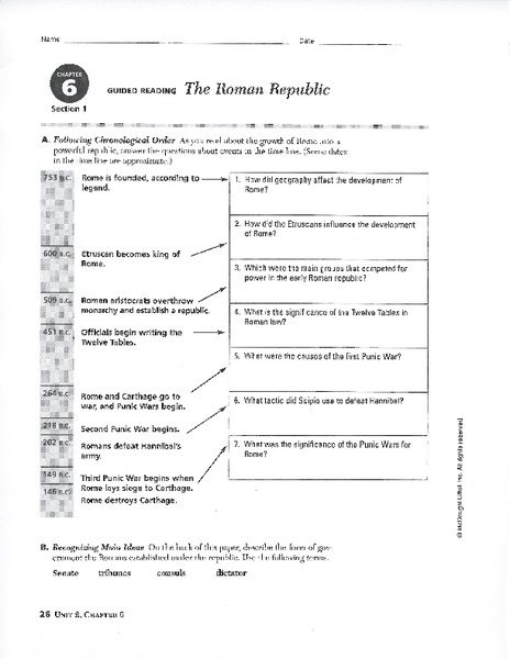 The Roman Republic Worksheet for 8th - 9th Grade | Lesson Planet