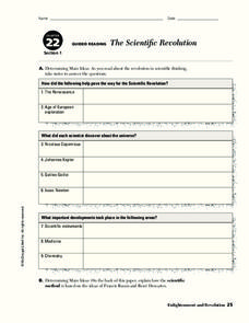 The Scientific Revolution Worksheet
