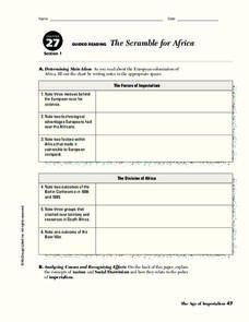 The Scramble for Africa Worksheet