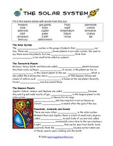 The Solar System Cloze Activity 3rd - 6th Grade Worksheet ...