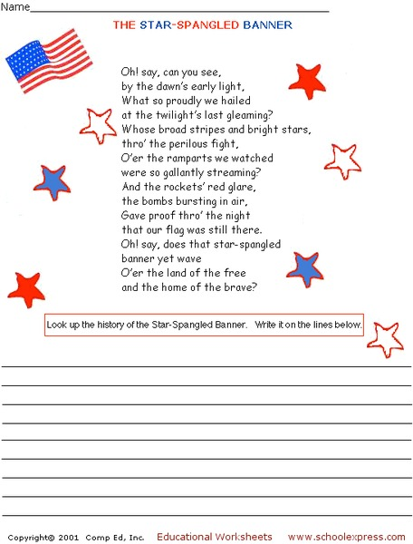 picture relating to Star Spangled Banner Lyrics Printable referred to as The Star-Spangled Banner Worksheet for 3rd - 4th Quality