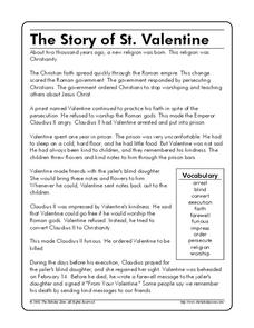 The Story of St. Valentine Worksheet