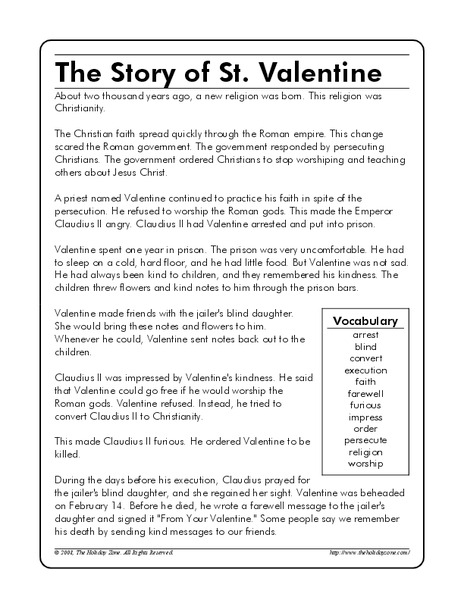 the story of st valentine worksheet for 4th 5th grade lesson planet. Black Bedroom Furniture Sets. Home Design Ideas