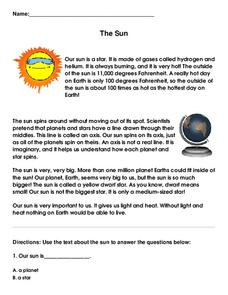 The Sun Worksheet